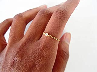 Size 8 14k Gold Filled Chain Ring with Cubic Zirconia Crystal Diamond for Women