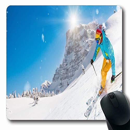 Mouse Pad Weltraum Eisskifahrer Winter Skifahren Bergab Während Der Alpen Sonniger Tag Freiheit Sport Kalt Erholung Hobby 25X30Cm Mousepad Gummi Längliche Rutschfeste Mausmatte Bü