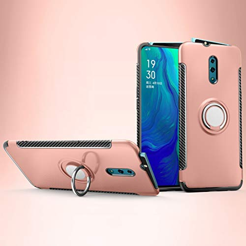 GLXC AYD Magnetic 360 Degree Rotation Ring Holder Armor Protective Case for OPPO Reno (Black) (Color : Rose Gold)