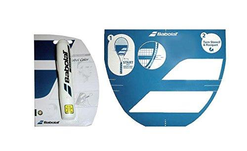 Babolat - Stencil per racchette da tennis e pennarello a inchiostro (inchiostro bianco)