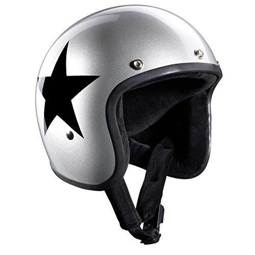 Bandit Helmets Jethelm Star Silver Jet, Motorradhelm mit Sonnenschild, Sports-Farbe:silver;Größe:L(59-60cm)