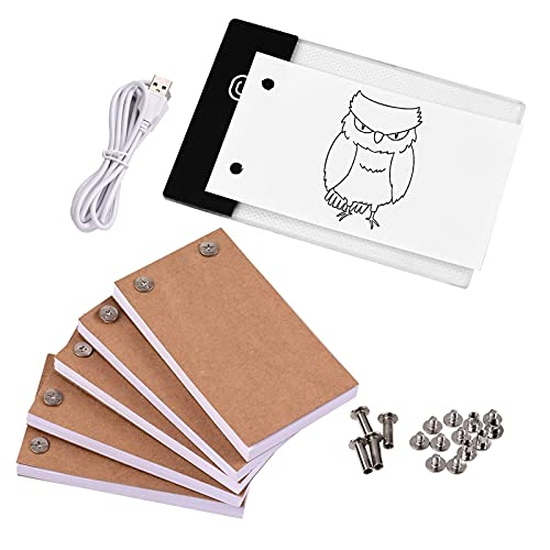 QinWenYan LED Light Pad LED Light Box Tablet 300 Sheets Drawing Paper Flipbook With Binding Screws Office Stationery (Color : Black, Size : One size)