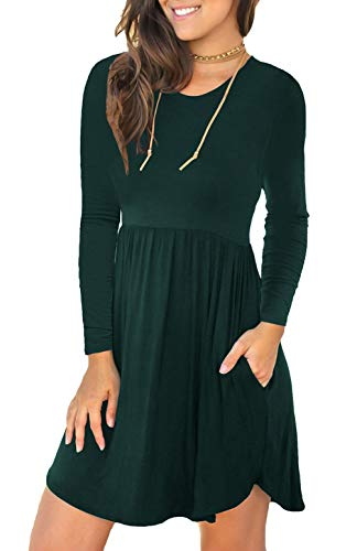 Unbranded Women's Long Sleeve Loose Plain Dresses Casual Short Dress with Pockets Dark Green X-Small