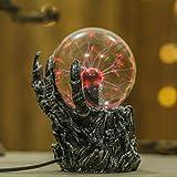 Uonlytech Lampada a sfera in vetro di plasma, luce in vetro del sensore emolliente con mano di teschio, luce di Halloween per la camera da letto