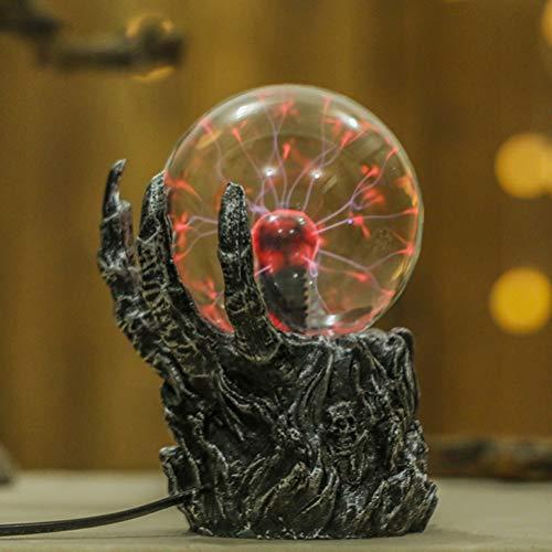 Uonlytech - Luz de bola de cristal de plasma con sensor de movimiento con la mano de calavera, luz de pizarra de Halloween para dormitorio