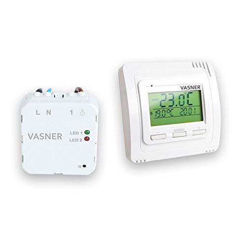 VASNER Funk Raumthermostat Set VFTB-US Unterputz für Infrarotheizung, digital, bis 9 Empfänger, programmierbar