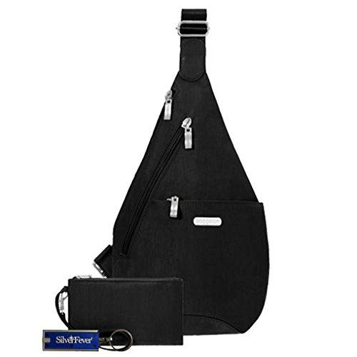 Baggalini Mini Sling Backpack Handbag Key Chain Purse Light (Black)