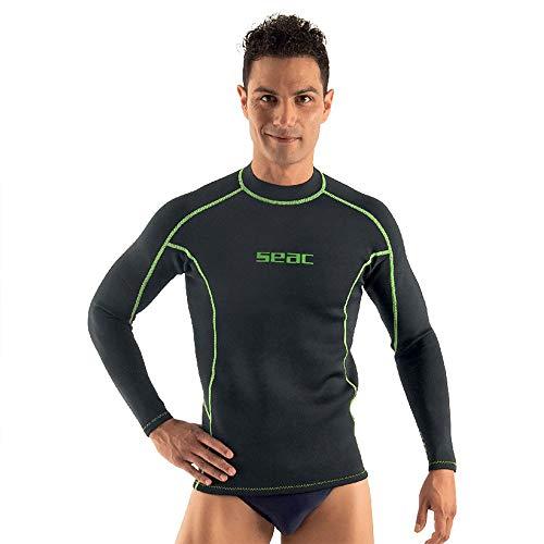 SEAC Fit Long Maglia in Neoprene 2 mm a Maniche Lunghe Ottima Come Sottomuta da Sub o Rash Guard da Surf e Nuoto, Nero, M