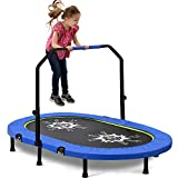 Merax Foldable Kids Trampoline with Adjustable Handrail and Safety Cover Mini Trampoline for 2 Kids Folding Spring Rebounder (Blue)