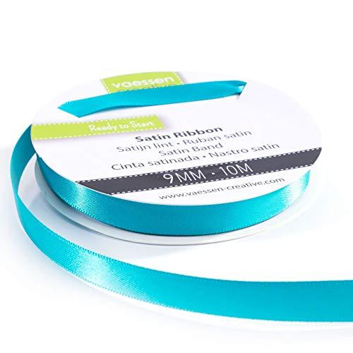 Vaessen Creative 301002-2012 Satinband Türkis, 9 mm x 10 Meter, Schleifenband, Dekoband, Geschenkband und Stoffband für Hochzeit, Taufe und Geburtstagsgeschenke, 9MM