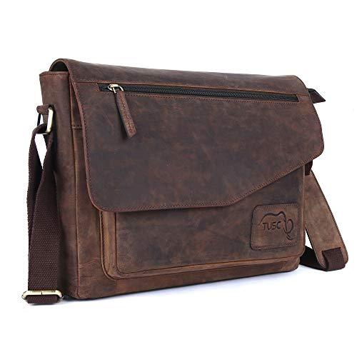 TUSC Triton bruin leren tas laptoptas 14 inch 15,6 inch heren schoudertas aktetas schoudertas voor kantoor notebook messenger bag laptop iPad, grootte- 39x30x9 cm