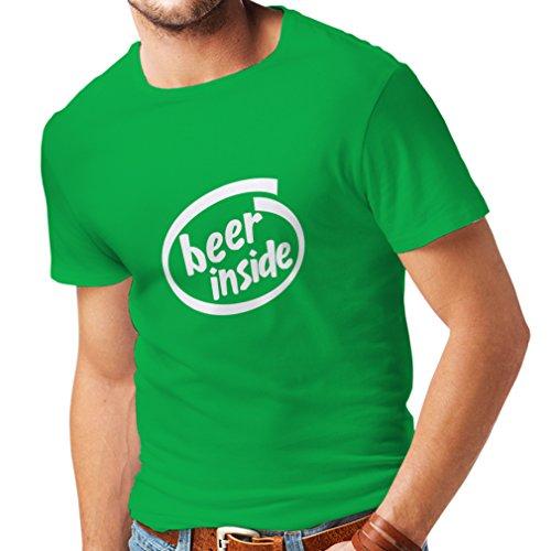 Männer T-Shirt Bier innen - für Bierliebhaber, lustiges Logo, humorvolles Geschenk, Kneipe, Bar, Party-Kleidung (X-Large Grün Weiß)