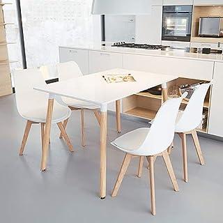Supfine Table Salle à Manger Rectangulaire Table Cuisine Salon MDF Jambe Ronde Hêtre, Table Scandinave pour 4 à 6 Personne...