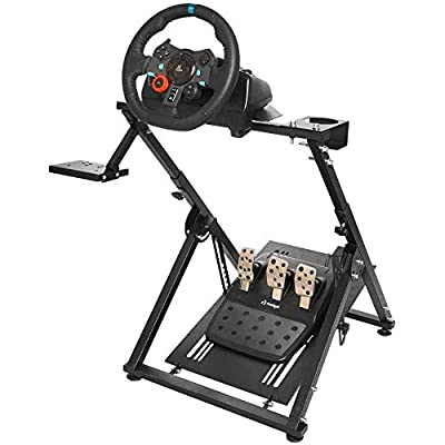 Minneer Racing Simulator Steering Wheel Stand Logitech for G25, G27, G29, G920, T300, T500 Thrustmaster T300RS. Wheel & Pedals Not Included