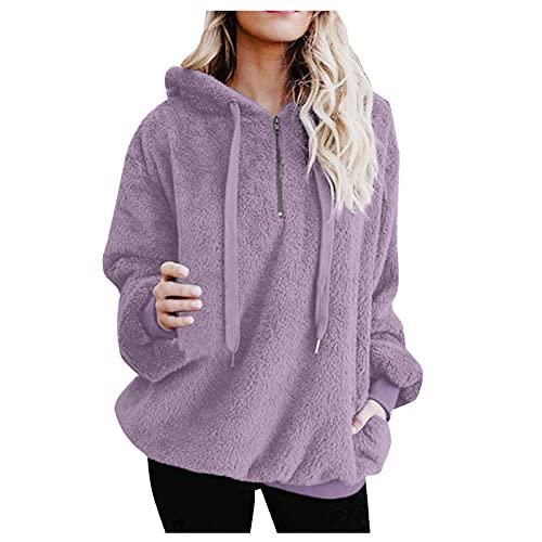 Dasongff Sudadera de forro polar con capucha, de manga larga, de forro polar, tallas grandes, para mujer, con capucha, de piel sintética, con capucha