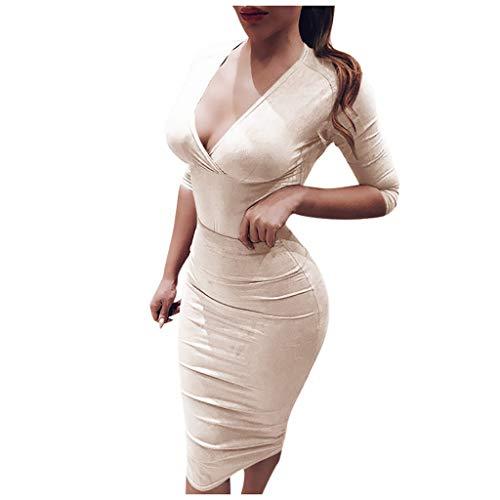 Electri Damen Kleid, sexy, Reißverschluss, V-Ausschnitt, Midi-Kleid, figurbetont, elegant, Oberteil, schick, Cocktailkleid, Abendkleid s beige
