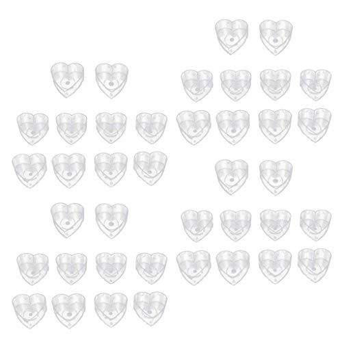 Unbekannt 40 Set Clear Heart Shapes Tea Light Cups Empty Case Candle Wax Containers Candle Mold Model Candle Wick DIY Jelly Gel Wax Candles Tealights AOD
