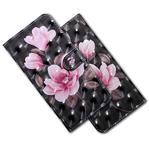 MRSTER LG K40s Handytasche, Leder Schutzhülle Brieftasche Hülle Flip Hülle 3D Muster Cover mit Kartenfach Magnet Tasche Handyhüllen für LG K40s. BX 3D Pink Camellia