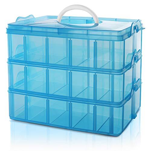 BELLE VOUS 3-stöckige Aufbewahrungsbox Plastik Stapelbar Blau - Sortierkasten bis 30 Verstellbare Fächer zur Aufbewahrung von Nähzubehör, Bügelperlen, Schmuck, Kleinteile, Bastelkiste, Spielzeug