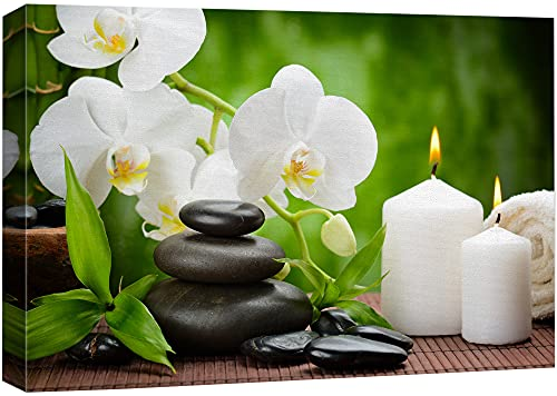 Canvas Prints Wall Art for Bathroom Zen Basalt Stones and Orchid on The Wood | Modern Wall Decor/Home Art Stretched Gallery Canvas Wraps Giclee Print & Ready to Hang - 16' x 24'