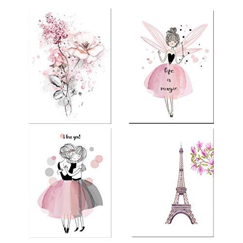 N\O 4 Stück Moderne Rosa Blumen Posters, Wasserfarben-Pinke Leinwanddruck, Aquarellentwurf, der Blumen, des Eiffelturms und des Mädchens, Wand Deko für Wohn-Schlafzimmer(Ohne Rahmen, 21 x 30 cm)