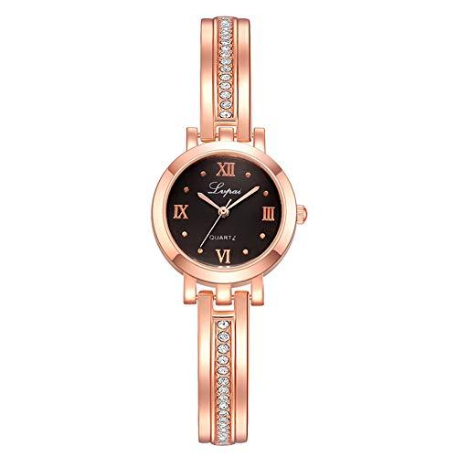 FENGZI Relojes De Pulsera De Reloj De Cuarzo Analógico Clásico para Mujer con Correa De Acero Inoxidable En Oro Rosa, Regalos para Dama