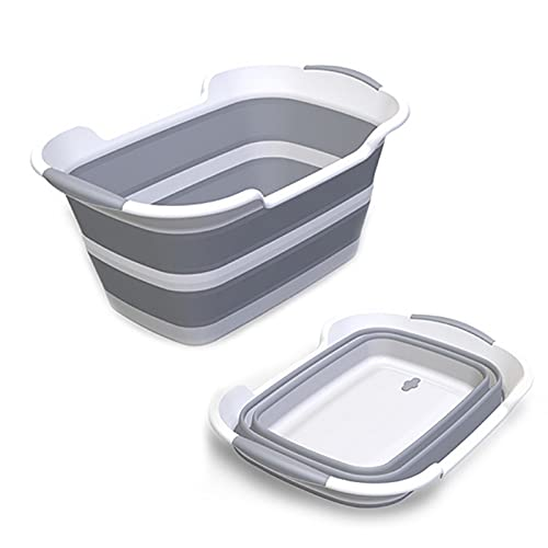 ddLUCK Multi-Functional Collapsible Pet Bathtub with Drainage Hole, Portable Indoor Outdoor Foldable...