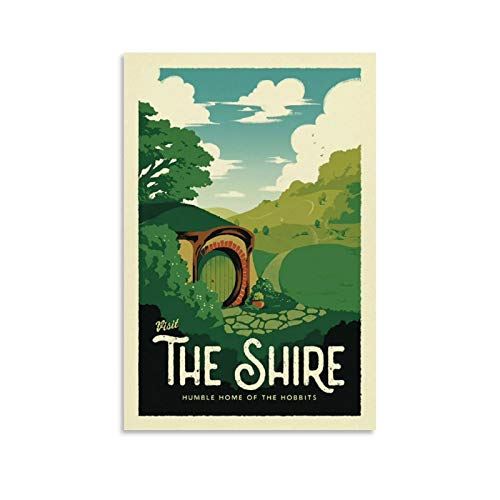 HUAIREN The Shire LOTR Travel Poster - Lord of The Rings - Retro Vintage Poster Prints Decor Gift Canvas Wall Art For Room Decor Family Bedroom Bathroom Aesthetic Poster 08x12inch(20x30cm)