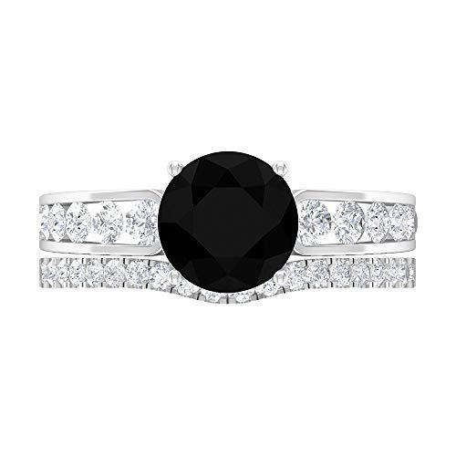 Anillo de diamante negro solitario de 8 mm, anillo de compromiso con detalles de diamante HI-SI, anillo de novia solitario, anillo de eternidad de oro, 10K Oro blanco, Size:EU 65