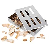 Rwm Smoker Box for Grill BBQ Wood Chips- Large Capacity Thick Stainless Steel Meat Smoky Flavor Smoker Box for Charcoal & Gas Grill