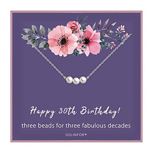 30th Birthday Gifts for Women - Sterling Silver Necklace Three Pearls for Her 3 Decades - 30 Years Old Jewelry Gift Idea