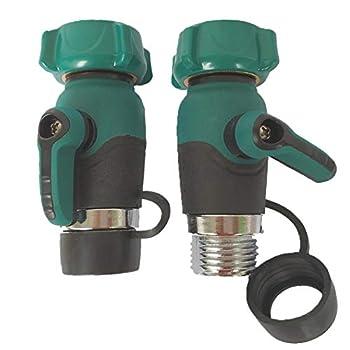 Nakcase Garden Hose Shut Off Valve Lead Free Family Safe Adapter,1-Way Restricted-Flow Water Shut-Off ,Set of 2