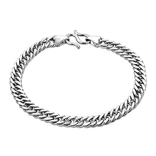 ZMSP Platino Platino Craft Tank Silver Bracelet 925 Joyas de Plata Personalidad de la Moda Temperamento Hombres Pulsera de Plata,20cm