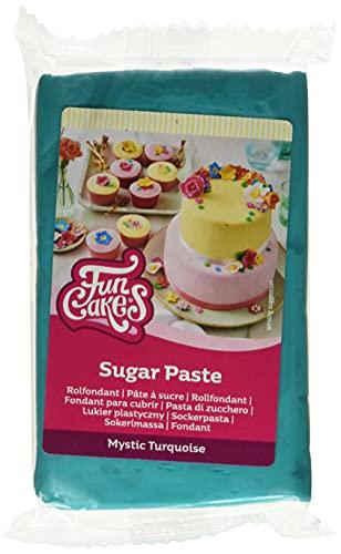 FunCakes Pasta di Zucchero Mystic Turquoise: facile da usare, liscia, flessibile, morbida e pieghevole, perfetta per decorare torte, halal, kosher e senza glutine. 250 gr