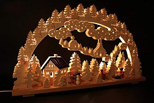 Beleuchteter Schwibbogen Schneemann Bauen Größe =70x43cm NEU Erzgebirge Leuchterbogen Lichterbogen