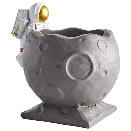 Portalápices organizador de escritorio de resina astronauta estatuas organizador de escritorio contenedor de mesa adorno de oficina decoración de escritorio de estudio estantería decoración