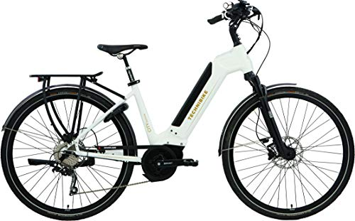 TechniBike CITY 28 Zoll E-Bike (Pedelec, Elektrofahrrad, Citybike, 450Wh Continental Akku, Continental 48V 250 Watt 70 Nm Motor, Rahmenhöhe 48 cm) hochglanz weiß
