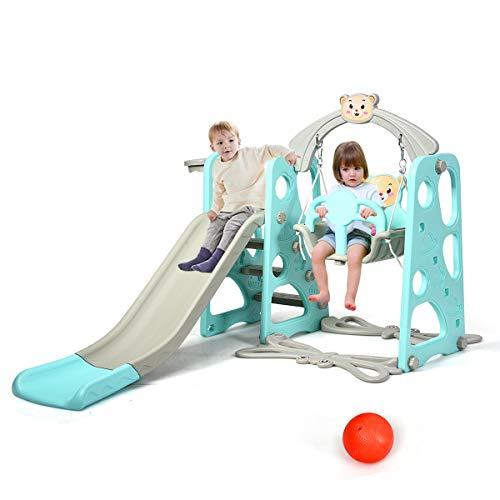 DREAMADE 3 in 1 Kinder Spielplatz, Kinderschaukel & Kinderrutsche Set mit Basketballkorb, Spielturm mit Rutsche und Schaukel für Indoor und Outdoor, Für Kinder 1 bis 5 Jahren (Grün)