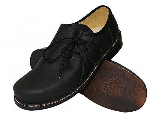 Trachtenschuhe Haferlschuhe Trachten-Schuhe Leder schwarz Ledersohle Schnürschuhe Glattleder Tanzschuhe Lederschuhe Glatte Sohle für Tänzer Plattler zur Lederhose und zum Tanzen, Größe:44