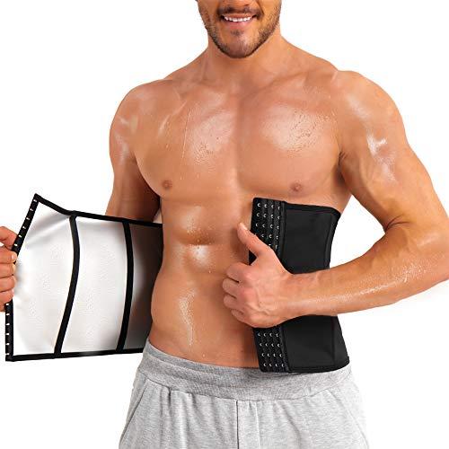 TAILONG Men Waist Trainer Trimmer for Weight Loss Belt Slimming Body Shaper Sweat Sport Girdle Workout Neoprene-Free Waist Cincher (Black, Large)