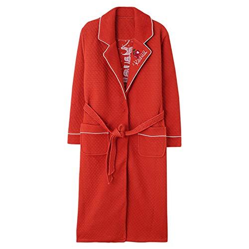 Camisón de invierno para mujer, para invierno, extra largo, de algodón, acolchado, de algodón grueso, ropa para el hogar, toalla de baño, albornoz (color: rojo, tamaño: L)
