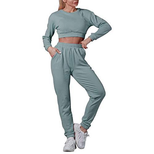 Litthing Damen Freizeitanzug Sportanzug Jogginganzug Trainingsanzug 2 Teiliges Langarm Hosenanzug Tracksuit für Running Yoga Gym Sportswear Beiläufig (Blau, s)