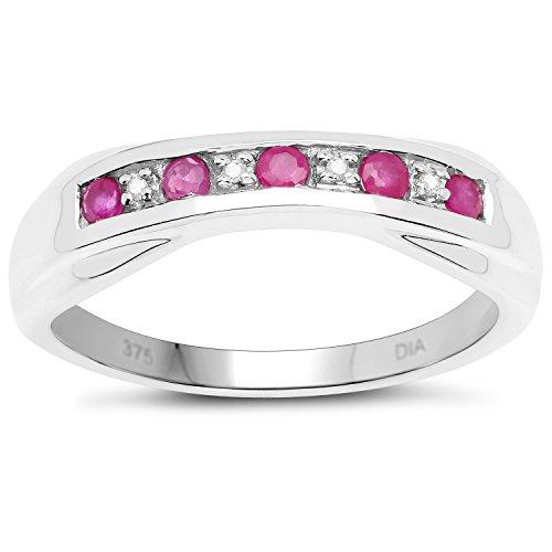 La Colección Diamantes Rubi: 9ct Anillo Oro Blanco de Rubi y Diamantes de 6mm de canal set, Anillo Eternidad, talla del anillo 25