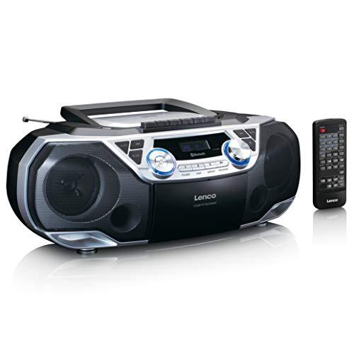 Lenco - Boombox - Bluetooth 5.0 - Toploader CD/MP3-Player - Kassettendeck - FM Radio - USB-Anschluss - 2 x 6 Watt RMS - Bass Reflex - Fernbedienung - Silber SCD-120SI