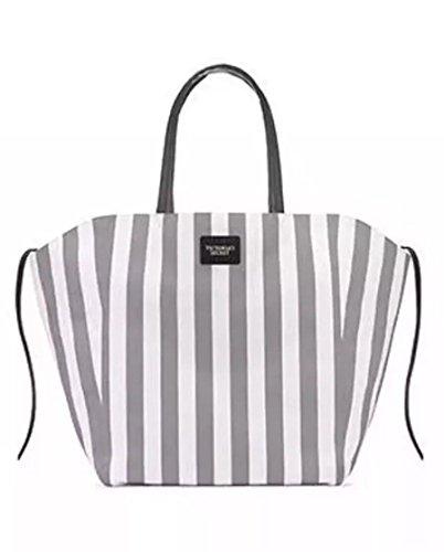 Victoria's Secret Beach Travel Canvas Tote Bag Striped White/Grey