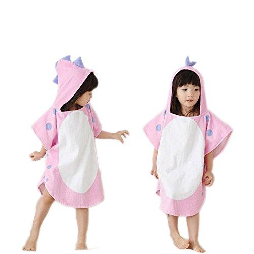 misslight Toalla de Playa con Capucha Dinosaurio Lindo 100% algodón Premium Kids con Capucha Poncho Beach Pool Toalla de baño para niños y niñas (Dinosaurio Rosado)