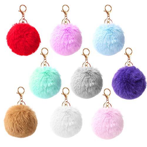 HIFOT 9pcs Schlüsselanhänger Plüsch Pompom Ball BommelSchlüsselanhänger Taschenanhänger Handtaschenanhänger Beutel-Kette Plüsch-Auto-Schlüsselring Handtasche Anhänger Dekor Pusheng Mehrfarbig