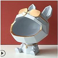 9インチ 犬像 樹脂 ブルドッグの置物 彫刻 ホームテーブル 子犬 デコレーション 雑貨 コンテナ キー キャンディ 収納ボックス 置物 ファッション 大きな口 犬の置物 (グレー)