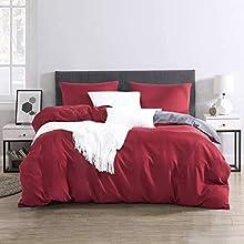 RUIKASI Ropa de cama de 220 x 240 cm, color antracita y burdeos, muy suave para dormir, microfibra, funda nórdica de 220 x 240 cm y 2 fundas de almohada de 80 x 80 cm