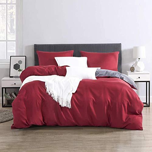 RUIKASI Ropa de cama de 220 x 240 cm, color antracita y burdeos, muy suave para dormir, microfibra,...